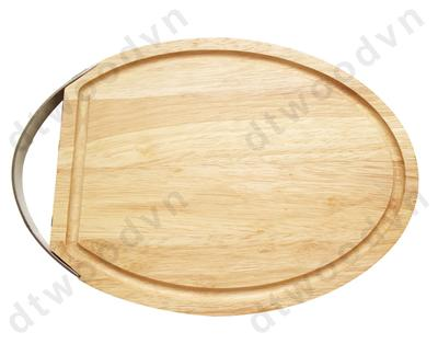 Oval cutting board with stainless steel handle and groove