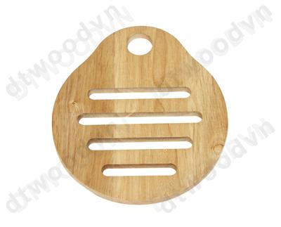 Pear shape trivet with 4 slots and hanging hole