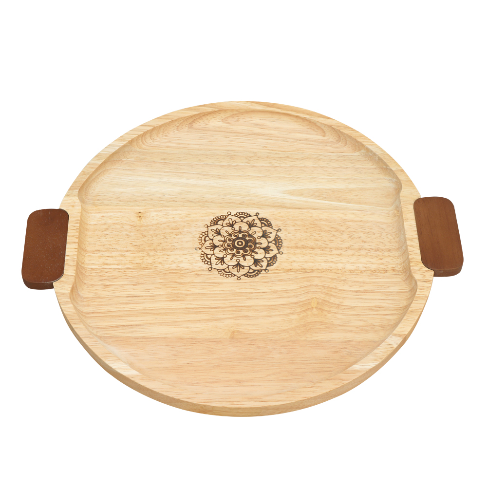 Round tray with color handle