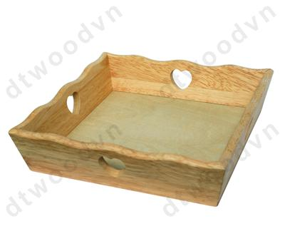 Square tray with heart holes