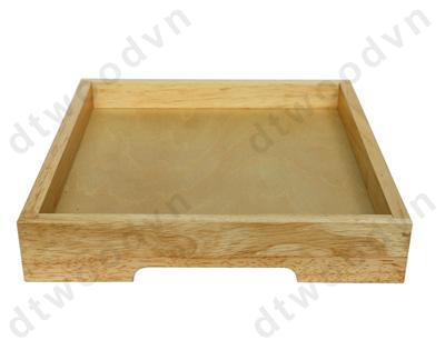 Square tray with veneer bottom