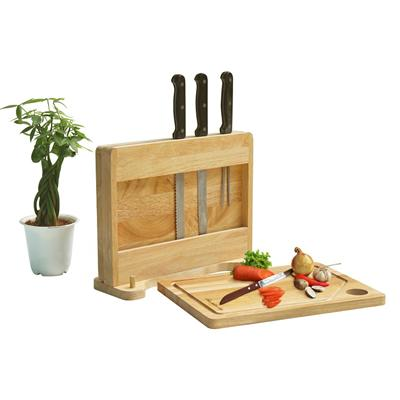Set of 2 cutting boards with knife holder