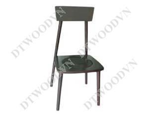 Brown chair with 4 round legs, wooden seat, brown color,KD.