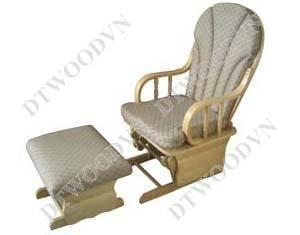 Set of relaxing chair with flowered cushion, curve aim. 1 big + 1 small,  Natural color