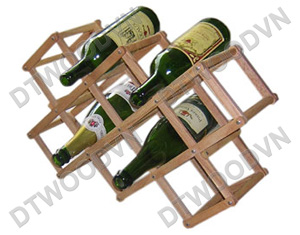 Folding bottle rack for 10 bottles