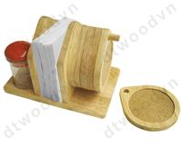Set of 6 cork coasters with napkin and jar holder