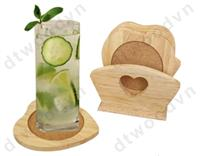 Set of 6 heart cork coasters